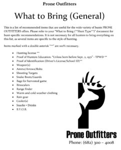 One of several documents provided by Prone Outfitters to help with general hunt preparation in Texas.